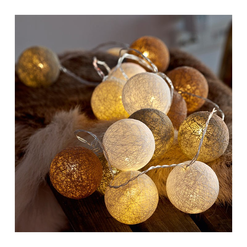guirlande boule coton lumineuse noel decoration. Black Bedroom Furniture Sets. Home Design Ideas